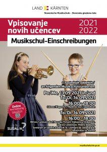 Vpisovanje novih učencev - Musikschul-Einschreibungen 2021-22